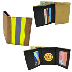 Firefighter Bunker Turnout Gear Tri-Fold Wallet with Medallion
