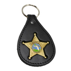 Florida Sheriff Star Badge Leather Key Ring  Gold