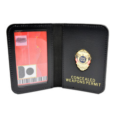 Concealed Weapons Permit Document Holder Leather Case Mini Badge