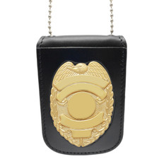 Leather Police Badge and ID Holder with Neck Chain - B296 - S155