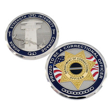Corrections Officer 7 Point Badge Challenge Coin - Thin Gray Line