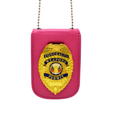 Pink Universal Badge and ID Holder with Concealed Weapons Badge