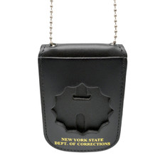 NY Dept of Corrections Leather Neck Badge and ID Holder with Chain