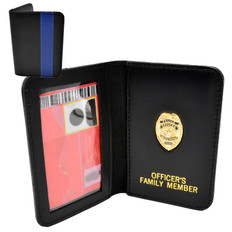 Thin Blue Line Police Officer Family Member Badge Leather ID Wallet Case