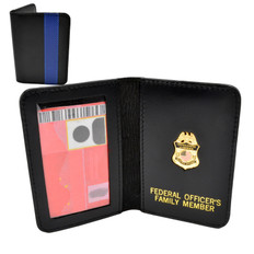 Thin Blue Line Federal Officer Mini Badge Family Member Wallet