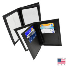 Ultrathin Leather Double ID Credential Case with 6 Credit Card Slots