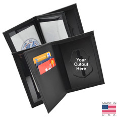 Federal Style Badge Thin Badge Case Double ID - 3 Credit Card Slots