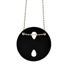 Perfect Fit Universal Round Badge Holder Neck Chain Black Leather