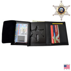 6 Point Sheriff Star Bi Fold Black Leather Badge Wallet - B812 S534