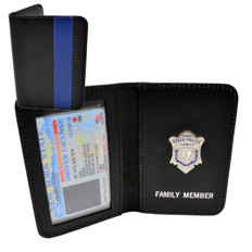 Thin Blue Line Massachusetts State Police Mini Badge Family Member Wallet