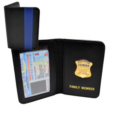 Thin Blue Line Boston Police Mini Badge Family Member Wallet
