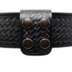 1.75 Inch Double Wide Leather Belt Keeper - Basketweave