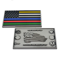 Thin Line Hero Flag Challenge Coin - All Color Lines