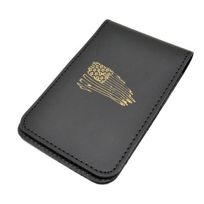 Leather Top Opening Notebook Holder - Gold Foil Imprint - Tattered Flag