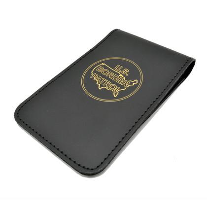 Leather Top Opening Notebook Holder - Gold Foil Imprint - U S Border Patrol Logo