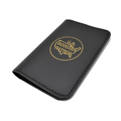 Perfect Fit Leather Book Style 3 x 5 Notebook Holder - Border Patrol Logo