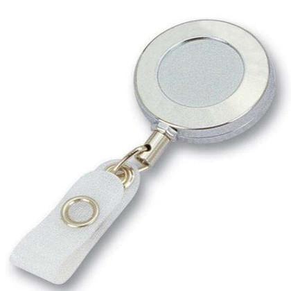 Chrome Metal Retractable Badge Reel ID Holder