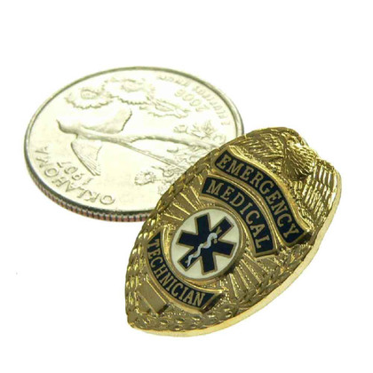 Emergency Medical Technician EMT Mini Badge Pin Gold