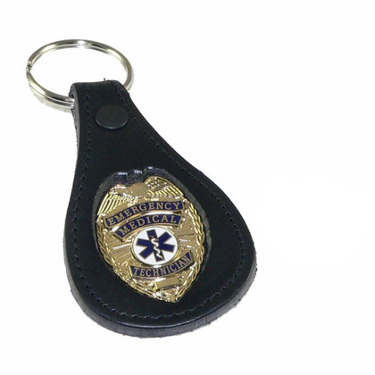 EMT Emergency Medical Technician Mini Badge Leather Key FOB gold