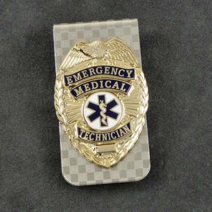 EMT Emergency Medical Technician Mini Badge Money Clip