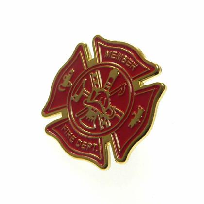 Firefighter Maltese Cross Lapel Pin