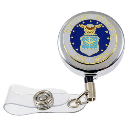 U S Air Force Military Retractable ID Holder Badge Reel