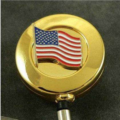 U S Flag Patriotic Old Glory Retractable ID Holder badge Reel
