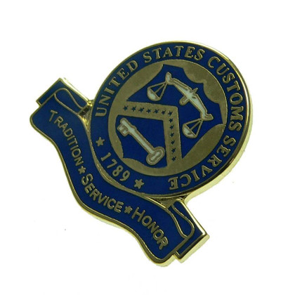 US U S Customs Treasury Tradition Motto Lapel Pin