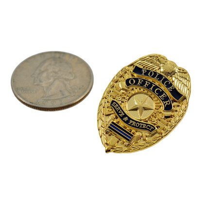 Police Officer Blue Line Mini Badge Lapel Pin - Gold