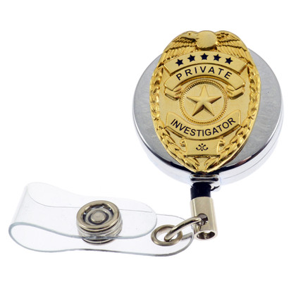 Private Investigator Mini Badge Retractable ID Holder Badge Reel