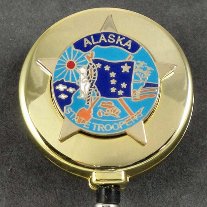Alaska State Troopers Patch Retractable Security ID Card Holder Badge Reel