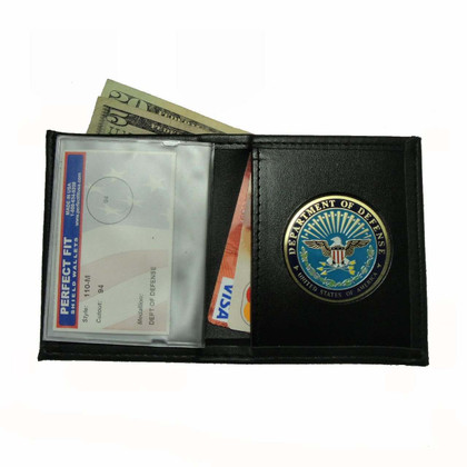 DOD Department of Defense Mens Black Leather Bi Fold Billfold Wallet