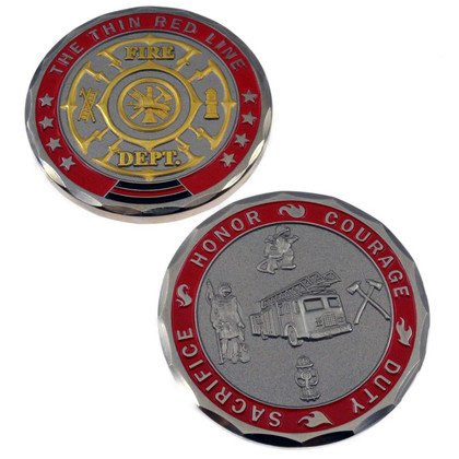 Firefighter Saint Florian Maltese Cross Challenge Coin