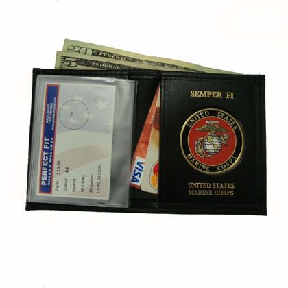 U.S. Marine Corps Medallion Mens Black Leather Bi Fold Billfold Wallet