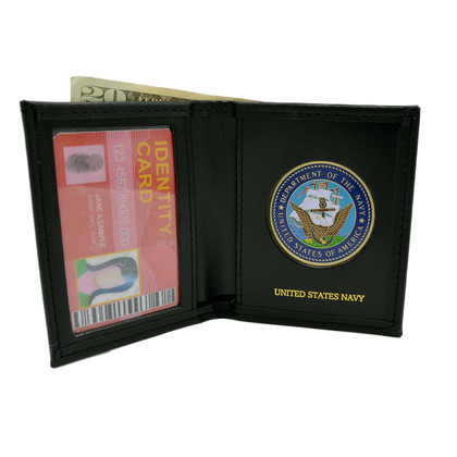 U.S. Navy Medallion Mens Black Leather Bi Fold Billfold Wallet