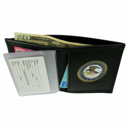 Mens Fold Of Wallet Doj Black Department Justice Leather Billfold Bi