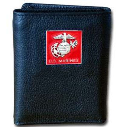 U S Marine Corps Trifold Leather Wallet with USMC Emblem