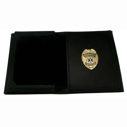 Mens Leather Hidden Badge Wallet EMT Gold