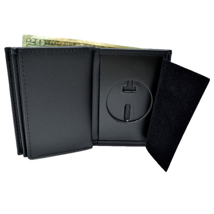 U S Marshal Federal Style 2 ID Recessed Leather Badge Wallet