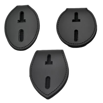 Universal Badge Holder Leather Clip On Belt Neck Hanger w/Chain