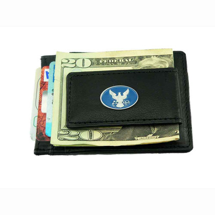 U S Navy Slimline Leather Money Clip Card Holder Wallet