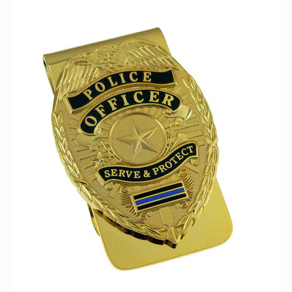 Police Officer Badge Thin Blue Line Money Clip