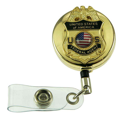 U. S. Federal Agent Retractable Badge Reel ID Card Holder