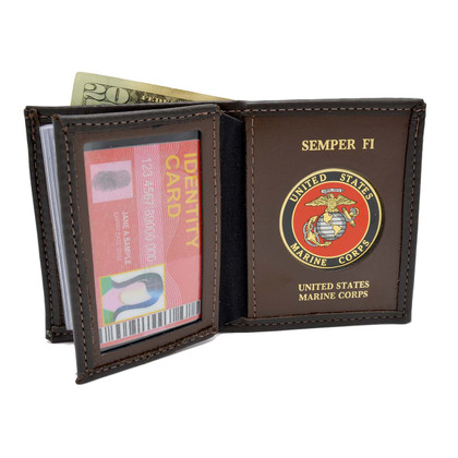 U S Marine Corps Medallion Bi-fold Men's Leather Wallet Brown