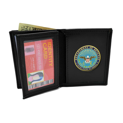 U S Department of Defense (DOD) Medallion Bi-fold Men's Leather Wallet