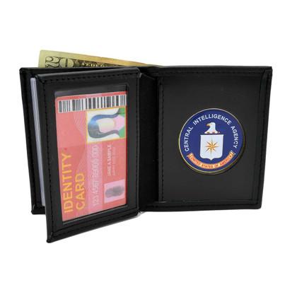 CIA Central Intelligence Agency Medallion Bi-fold Men's Leather Wallet