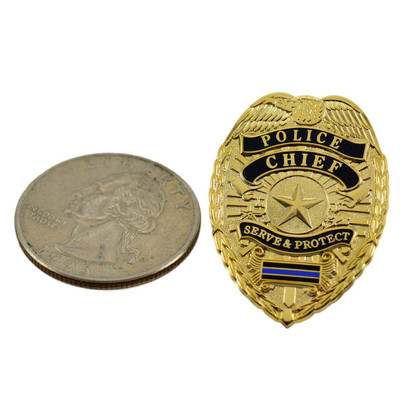 Police Chief Blue Line Mini Badge Lapel Pin Gold
