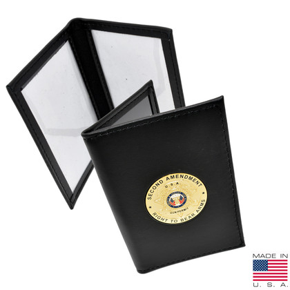Concealed Weapons Permit Leather ID Holder with Medallion