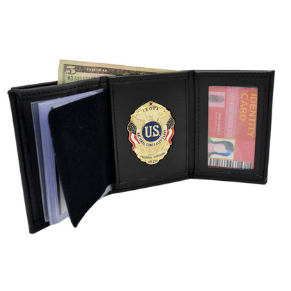 Trifold Mens Leather Wallet w/ Single ID Window and LEOSA Badge