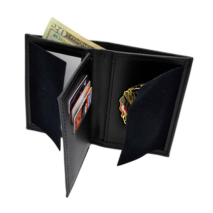 LEOSA Concealed Carry Badge Bi-fold Men's Leather Wallet with CC Holders